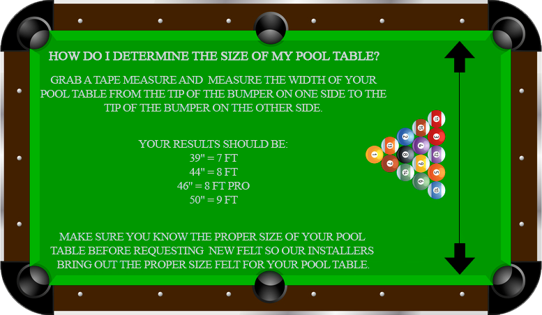 Sacramento Pool Table Dimensions